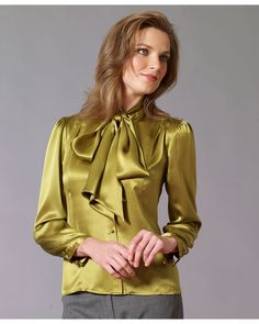 Image may contain: 1 person Sexy Blouse, Blouse Dress, Satin Top, Silk Satin, Satin Bluse, Silk Stockings, Beautiful Blouses, Classy Women, Lady