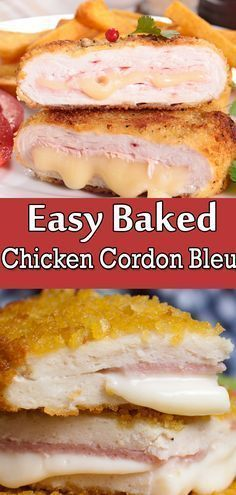 This Homemade Dish Is Crispy And Delicious, Filled With Cheese And Ham. It Is An easy Version Of The Famous French Meal That Is Ready In About One Hour. . Chicken Cordon Blue Easy, Baked Chicken Cordon Bleu, Easy Baked Chicken, Chicken Recipes, Cheesy Chicken, Chicken Cordonblue Recipe, Grilled Chicken, Healthy Chicken, Sandwiches