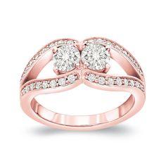 Auriya 14k Gold 1ct TDW 2-Stone Round Cut Diamond Engagement Ring (J-K, I1-I2) (White Gold - Size 7.5), Women's
