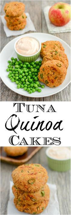 These Tuna Quinoa Cakes are a great way to add some extra protein to your day. Eat them plain, put them on a bun, or use them to top your salad for a healthy lunch or dinner! (swap df yogurt or mashed/pureed avocado for dairy-free! Fish Recipes, Baby Food Recipes, Seafood Recipes, Healthy Dinner Recipes, Cooking Recipes, Seafood Dishes, Lunch Recipes, Cooking Time, Gourmet