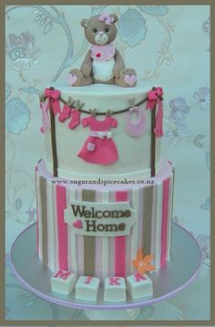 Candy Stripes Teddy Cake for Mika ~ - CakesDecor