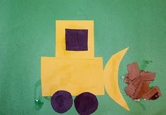 A shape craft: create different vehicles. squares, rectangles, and circles. Preschool and Kindergarten transportation and construction theme. Compare the vehicles in speech therapy too. Construction Theme Preschool, Transportation Theme Preschool, Construction Crafts, Preschool Themes, Preschool Activities, Construction Worker, Construction Business, Construction Design, Preschool Rules