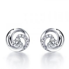 Unique Circle Shape Diamond Earrings on 10K White Gold