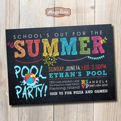 Chalkboard Pool Party Invitation. Summer party. by AngelinaWorks