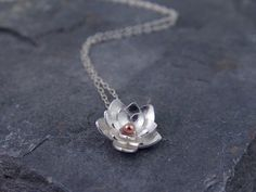 Silver Lotus Flower Drop Pendant - Sterling silver and Bronze Metalsmithing, Gifts for her, Valentines day. $52.00, via Etsy.