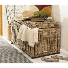 Wicker Storage Trunk, Wicker Trunk, Room Ideas Bedroom, Bedroom Themes, Bedroom Decor, Toy Storage Bins, Storage Spaces, Storage Ideas, Classic Blankets