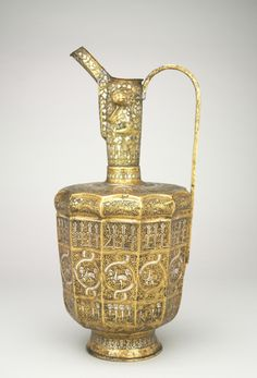 Twelve-sided Ewer with Sphinxes and Humanheaded Inscriptions, 1300-1350 Iran, Khurasan, Ilkhanid period, 14th century