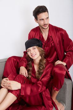 Classic Full Length Silk Couple Pajamas Sets #silk #silkpajamas #hisandher