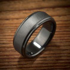 "Black Zirconium Brushed ""Koenig"" Ring"