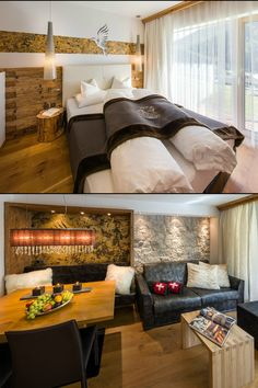 Exclusive and luxurious apartments in the alpinlodge & spa in Samnaun Switzerland in the Ski Resort Silvretta Arena. Luxury and panoramic views Spa Bedroom, Luxury Spa, Apartment Design, Alps, Contemporary Design, Living Room Designs, Architecture, Wood, Furniture