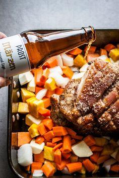 Boneless pork shoulder roast (aka Bavarian Schweinebraten) is juicy, with crispy skin. Boneless Pork Shoulder Roast, Pork Gravy, Pork Shoulder Recipes, Oktoberfest Food, Pork Roast Recipes, Best Beer, How To Cook Chicken, Pot Roast, Cooking Recipes