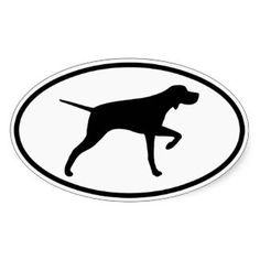 Pointer Dog Silhouette Oval Sticker