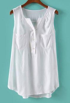 15.00 White Sleeveless Pockets Chiffon Dipped Hem Blouse