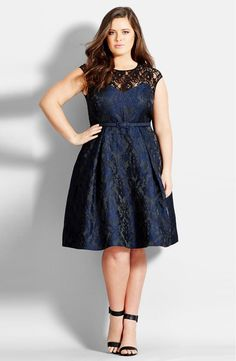 Main Image - City Chic Lace Neck Brocade Dress (Plus Size)