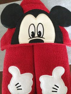 Mickey Mouse Hooded Towel, 3D, Appliqued and Embroidered, Disney by RedbudBaby on Etsy