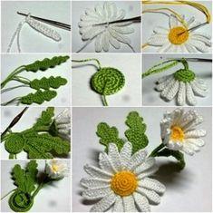 crochet flower pattern (2) Fleur Crochet, Crochet Motif, Crochet Yarn, Crochet Daisy, Crochet Buttons, Crochet Flower Patterns, Easy Crochet, Irish Crochet, Crochet Hooks