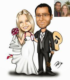 Caricatura de noivinhos feito para Adriana !!! Ela é médica e o noivo adora tocar violão. Agora está tudo pronto para o casal ir para altar e celebrar essa união. Parabéns casal !!! Site: www.ricksucaricaturas.com.br