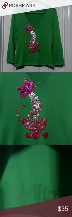 Unique Sample Sweater Long sleeve Green sweater with a Pink cat made of sequins and Beads. Extremely unique and gorgeous in person pictures do not do this Justice. Tags were removed  at some point so not certain of the brand  but I have another that is a Michael Simon so I am assuming it is also a Michael Simon.The word sample is written on the inside as shown in the third picture. Worn one time. In excellent condition. Sweaters