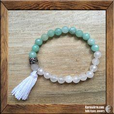 PEACEFUL: White + Blue Jade Yoga Mala Bracelet with Tassel