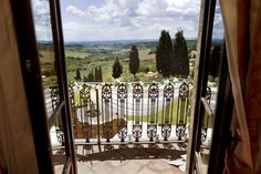 A wedding in Tuscany, taken from the Bride's room balcony with a majestic view over theTuscan Countryside