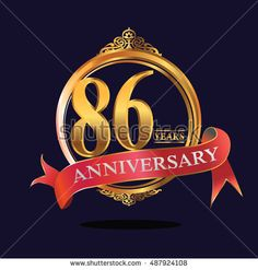 86 years anniversary golden logo with soft red ribbon. anniversary logo for birthday, celebration, wedding, party