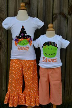 Personalized Halloween Witch or Monster Applique Shirt or Onesie for Boy or Girl on Etsy, $25.00