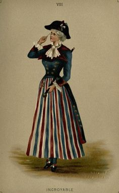 Incroyable fancy dress, 1887 England, Fancy Dresses Described by Ardern Holt Incroyable Short red, white, and blue skirt; Victorian Fancy Dress, Victorian Costume, Victorian Fashion, Historical Costume, Historical Clothing, Fancy Dress Ball, 18th Century Costume, Lookbook, Vintage Halloween