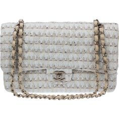 Pre-Owned Chanel Beige Pastel Tweed Medium Classic Flap Bag (€2.530) ❤ liked on Polyvore featuring bags, handbags, one strap purse, flap bag, chanel purse, chanel and multicolor handbags