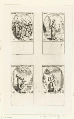 Jacques Callot | Heilige Ursula van Keulen en gezellen, Heilige Maria Salome, Heilige Severinus van Keulen, Heilige Maglorius van Dol (21-24 oktober), Jacques Callot, 1632 - 1636 | Blad met vier ovale voorstellingen, elk met opschrift en datum in het Latijn: linksboven de Heilige Ursula van Keulen met haar gezellen die aangevallen worden door de Hunnen, rechtsboven de Heilige Maria Salome met een zalfpot bij Golgota, linksonder de Heilige Severinus van Keulen die engelen in de hemel…