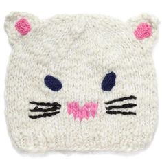 San Diego Hat Company  Cat Critter Hat featuring polyvore, women's fashion, accessories, hats, white, cat hat and white hat