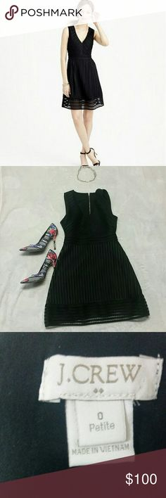 J crew striped eyelet dress ? Beautiful j crew black dress. Has a v cut neck line. Great dress for a night out on the town. Add some colorful heels to it and a gold necklace to match the golden back zipper!!! Your ready to go! :) J. Crew Dresses