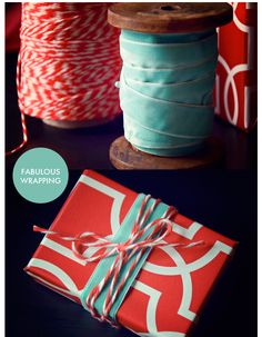 velvet + twine for wrapping - you'll be seeing this around the Baker family Christmas tree this year!!