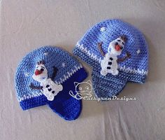 Earflaps Hat with Applique Snowman Olaf 4 Sizes by CathyrenDesigns