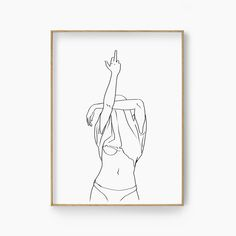 Art Sketches, Art Drawings, Yellow Aesthetic Pastel, Canvas Art, Canvas Prints, Chef D Oeuvre, Woman Drawing, Rude Finger, Minimalist Art