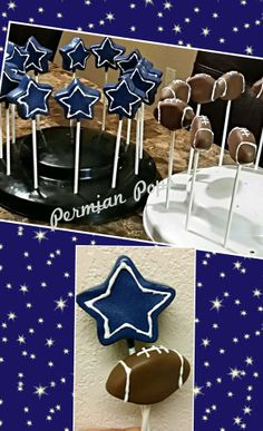 Dallas Cowboys theme Cake pops football www.facebook.com/permianpops
