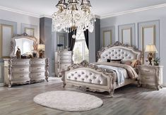 ACME Furniture Acme Gorsedd Eastern King Bed in Cream Fabric and Antique White Bedroom Furniture Sets, Bedroom Sets, Bedroom Decor, Queen Bedroom, Queen Bedding Sets, Master Bedroom, California King Bedding, Acme Furniture, Rococo Furniture