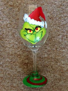 Grinch Hand Painted Wine Glass by BeachFrogPond on Etsy