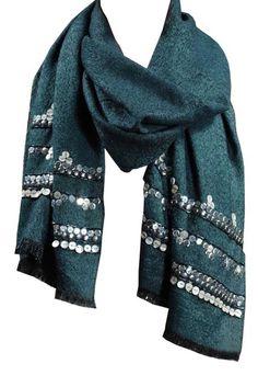 Elizabeth Gillet tLurex wool oblong with beaded border