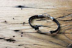 Men's Large Fish Hook and Braided Leather Bracelet, Nautical Bracelet, Coastal Style, Unisex Bracelet, Fishing Hook Bracelet, Angler by ALittleBlueFish on Etsy