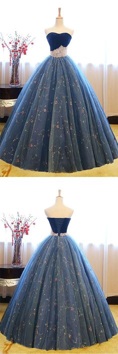 luxury ball gown blue prom dress woth pearls, elegant princess bule lace party dress with pearls
