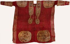 """A Byzantine Dalmatic featuring coptic and Islamic inscriptions; some actual phrases such as """"'Dominion belongs to God"""" and others simply treated as pretty decoration.  Egypt, 700-900 A.D."""