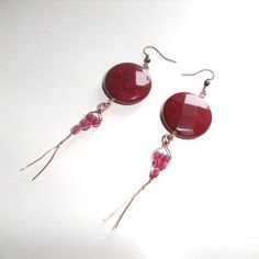 Raspberry Gemstone and Copper Earrings