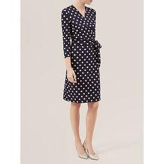 Buy Hobbs Sally Spot Dress, Navy/Ivory Online at johnlewis.com