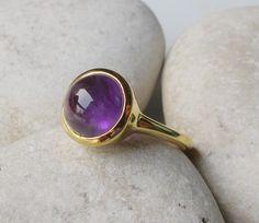 Amethyst Ring Cabochon Ring Purple Gemstone Ring Stone by Belesas