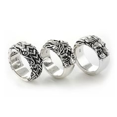 3 band rings from Kingdom Collection by Deific. Left is dragon ring, center is tiger ring, right is lion ring.