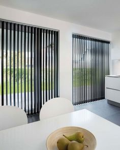 A modern interior with slats- Een modern interieur met lamellen More mature, more modern or cozier. Many interiors receive an upgrade with slats. Also lift your house to a higher level with the vertical slats. Blinds For French Doors, Sliding Door Blinds, Sliding Glass Door, Glass Doors, Patio Door Blinds, House Blinds, Curtains With Blinds, Window Blinds, Blinds For Windows Living Rooms