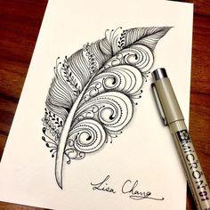 553 отметок «Нравится», 2 комментариев — Lisa Chang (@lisa565998) в Instagram: «#feather #zen #zentangle #art #artist #drawing»