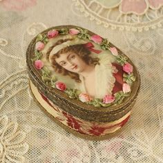 RESERVED FOR ROSE French Powder Box Antique Pink Ribbon Work, Silk, Metallic Trim