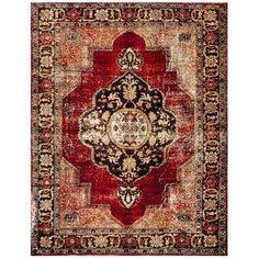 Rug - Vintage Hamadan Area Rugs by Safavieh Black Rug, Red Black, Dark Red, Polypropylene Rugs, Transitional Rugs, Carpet Colors, Persian Carpet, Persian Rug, Red Rugs