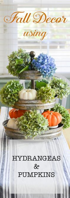 #Hydrangeas and Pumpkins for Fall. Natural elements that are subtle yet so beautiful. Inexpensive way to bring #Fall into your #decor. via @FlowerpatchPam